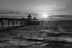 Salida del sol Clevedon Pier England C Imagen de archivo