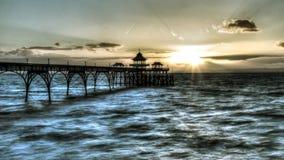 Salida del sol Clevedon Pier England E Foto de archivo