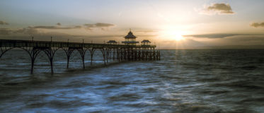 Salida del sol Clevedon Pier England F Imágenes de archivo libres de regalías