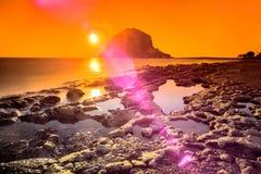Salida del sol colorida de Monemvasia Fotografía de archivo