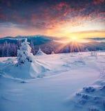 Salida del sol colorida del invierno en las montañas Fotografía de archivo libre de regalías
