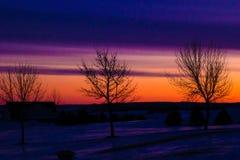Salida del sol colorida del invierno foto de archivo libre de regalías