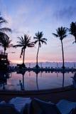 Salida del sol con las palmeras Imagen de archivo