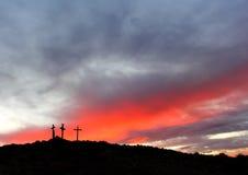 Salida del sol cruzada santa Imagen de archivo libre de regalías