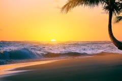 Salida del sol de Art Beautiful sobre la playa tropical Imagen de archivo libre de regalías