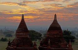 Salida del sol de Bagan Fotografía de archivo