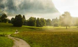 Salida del sol de Bohinj con la niebla, Eslovenia Foto de archivo libre de regalías