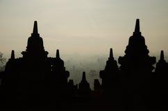Salida del sol de Borobudur Foto de archivo libre de regalías