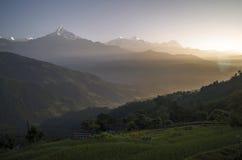 Salida del sol de Dhampus Fotografía de archivo