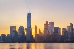 Salida del sol de Freedom Tower Imagen de archivo
