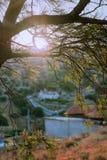 Salida del sol de Grecia en el pueblo Imagen de archivo libre de regalías
