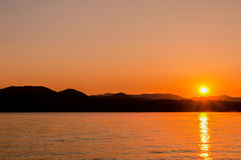 Salida del sol de Jocassee del lago Imagen de archivo
