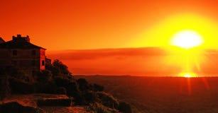 Salida del sol de la aldea de Córcega Fotos de archivo libres de regalías