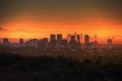 Salida del sol de la ciudad del siglo Foto de archivo libre de regalías