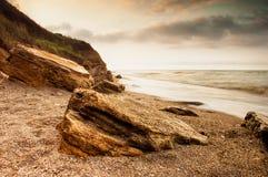 Salida del sol de la costa de mar en Chabanka Odesa Ucrania Foto de archivo libre de regalías