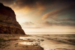 Salida del sol de la costa de mar en Chabanka Odesa Ucrania Fotografía de archivo libre de regalías