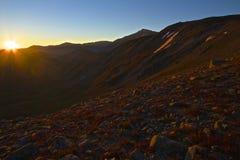 Salida del sol de la divisoria continental foto de archivo libre de regalías