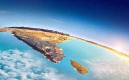 Salida del sol de la India y de Sri Lanka ilustración del vector
