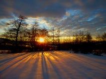 Salida del sol de la mañana del invierno Fotografía de archivo