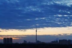 Salida del sol de la madrugada en Moscú Imágenes de archivo libres de regalías