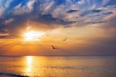 Salida del sol en el mar Foto de archivo