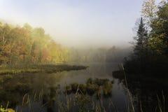 Salida del sol de la madrugada sobre un lago Foto de archivo