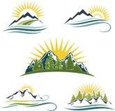 Salida del sol de la montaña, conjunto del icono de la naturaleza Fotos de archivo libres de regalías
