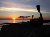 Salida del sol de la pesca Fotografía de archivo libre de regalías
