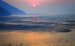 Salida del sol de la playa de Fujian Xiapu, China Foto de archivo libre de regalías