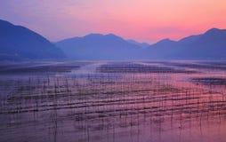 Salida del sol de la playa de Fujian Xiapu, China Imagen de archivo libre de regalías