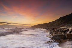 Salida del sol de la playa de Mundesley Fotografía de archivo