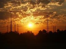 Salida del sol de la potencia Imagen de archivo libre de regalías