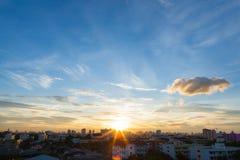 Salida del sol de la puesta del sol de Asia Fotos de archivo