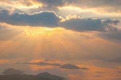 Salida del sol de la puesta del sol del paisaje Imagen de archivo