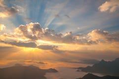 Salida del sol de la puesta del sol del paisaje Imágenes de archivo libres de regalías