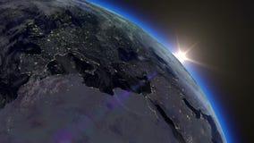 Salida del sol de la tierra ilustración del vector