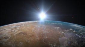 Salida del sol de la tierra sobre la África del Norte stock de ilustración