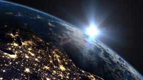 Salida del sol de la tierra sobre la costa este los E.E.U.U. ilustración del vector