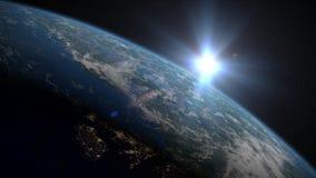 Salida del sol de la tierra sobre el Reino Unido y la Europa del Norte ilustración del vector
