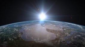 Salida del sol de la tierra sobre Norteamérica stock de ilustración