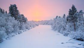 Salida del sol de Laponia Imagen de archivo