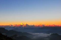 Salida del sol de las montañas de Minya Konka Fotografía de archivo libre de regalías