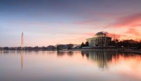 Salida del sol de los monumentos del Washington DC Fotografía de archivo libre de regalías