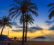 Salida del sol de Mallorca en la playa de Magaluf Palmanova Imágenes de archivo libres de regalías