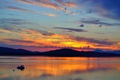 Salida del sol de medianoche en Noruega Foto de archivo libre de regalías