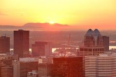 Salida del sol de Montreal imagen de archivo