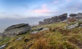 Salida del sol de niebla Fotos de archivo libres de regalías