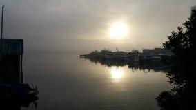 Salida del sol de niebla de la orilla del lago Fotos de archivo