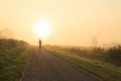 Salida del sol de niebla del campo Imagen de archivo libre de regalías