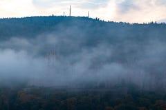 Salida del sol de niebla en Heidelberg imágenes de archivo libres de regalías